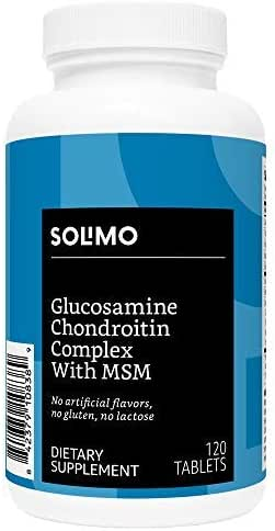 Amazon Brand - Solimo Glucosamine Chondroitin Complex with MSM, 120 Tablets (2 Tablets per Serving), Glucosamine 1500mg, Chondroitin/MSM Complex 1103mg