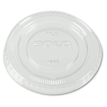 SOLO PL2-0090 Clear Polystyrene Soufflé Portion Cup Lid without Slot (Case of 25)