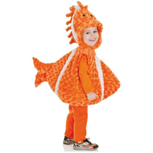 Themed Aquatic Costume (Underwraps Baby's Big Mouth Clown Fish Belly-Babies, Orange/White,)
