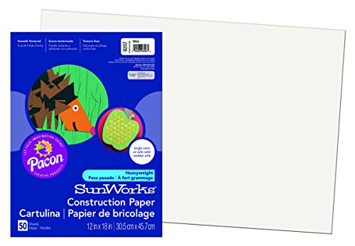Price comparison product image Pacon SunWorks Construction Paper, 12-Inches by 18-Inches, 50-Count, White (9207)