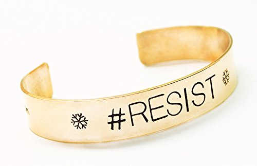 Hand Stamped Bracelet - #RESIST - 1/2 inch unisex cuff style, solid brass - The Resistance (antiqued copper) Antiqued Stamped Brass