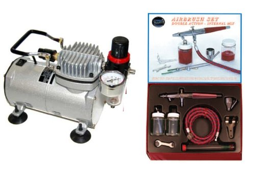 Airbrush Depot Kit - PAASCHE VLS AIRBRUSH SET w/Quiet Kit Airbrush Depot 1 Year Warranty Tankless Compressor and 6 Foot Air Hose Set