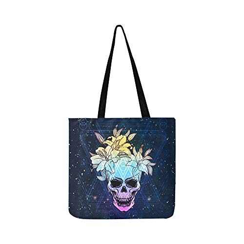 Trash Skull Lily Flowers On Indigo Canvas Tote Handbag Shoulder Bag Crossbody Bags Purses For Men And Women Shopping Tote