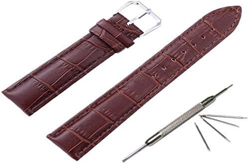 クロコダイル 型押しカーフレザーの本革製時計バンド 四つバネ棒とバネ棒加工付き ワンタッチで装着簡単(18mmブラック)