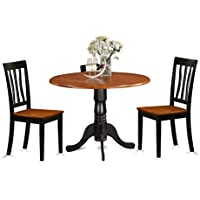 East West Furniture DLAN3-BCH-W 3 Piece with 2 Wooden Chairs Dublin Dining Set