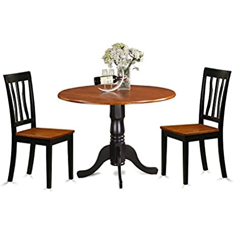 East West Furniture DLAN3 BCH W 3 Piece With 2 Wooden Chairs Dublin Dining Set