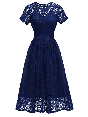 Length Tea Gown - FAIRY COUPLE Women's Tea Length Cocktail Party Gown Formal Swing Dresses XL Navy Blue
