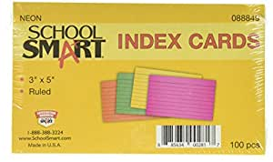 School Smart Heavyweight Ruled Index Cards - 3 x 5 inches - Pack of 100 - Assorted Neon Colors