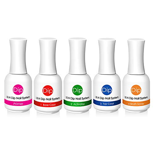 Nail Dipping Powder Liquid Set Starter Kit - Includes Primer, Gel Base Coat, Dip Powder Activator, Gel Top Coat and Brush Saver, 15ml Each (Liquid Kit)