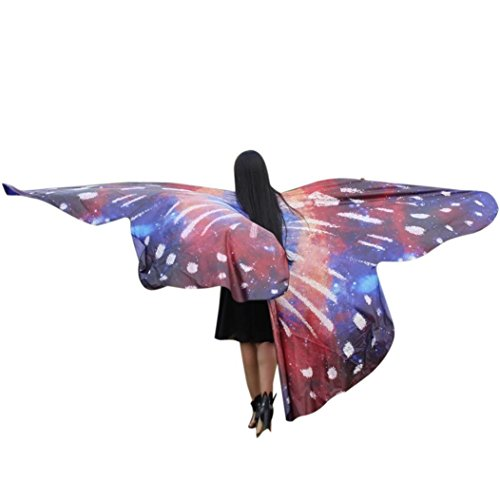 VESNIBA Egypt Belly Wings Dancing Costume Butterfly Wings Dance Accessories No Sticks (Wine) ()