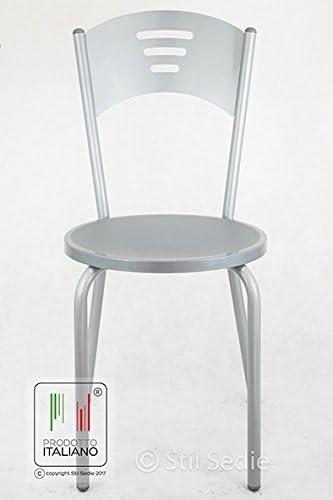Stil Sedie Sedia da Cucina con Struttura in Metallo Verniciato Colore Alluminio con Seduta in plastica, Modello Monika