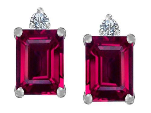 Star K 8x6mm Emerald Octagon Cut Created Ruby Earrings Studs Sterling (Cut Lab Ruby)