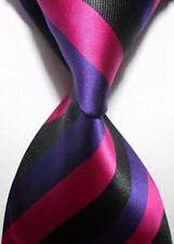 [MINDoNG Necktie Striped Black Purple JACQUARD WOVEN Men's Tie GAG # 33331] (James Bond Womens Costumes)