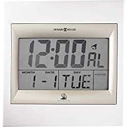 Howard Miller Techtime II Wall Clock 625-236 - Digital Alarm Clock with Radio Control Movement