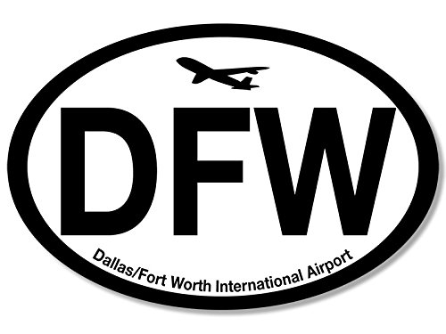 Oval DFW Dallas Fort Worth Airport Code Sticker (jet fly air hub pilot - Usa Dallas Airport
