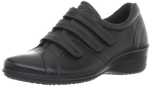 Ecco Arc Chaussures En Cuir Noir Femmes Velcro 212053 Cuir Noir