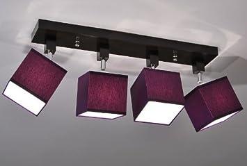 Designer Decken Leuchte Lampe Retro Spot Strahler Salon Bar Theke E27 Power  LED Berlin 6 (Sockelfarbe: Nuss)