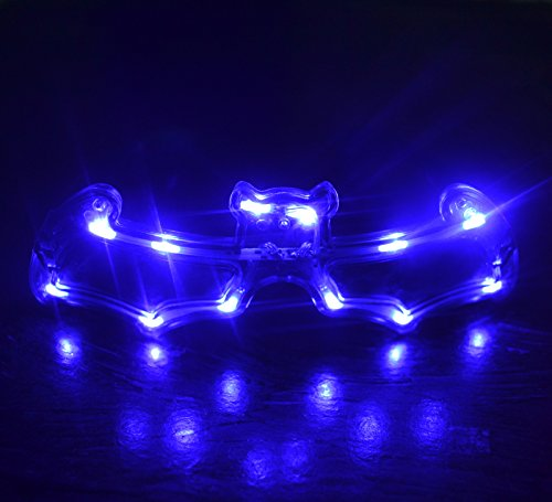 1bda7d612c4 LED Light Up Flashing Party Glasses - Various Styles by Mammoth Sales (Blue  Bat)