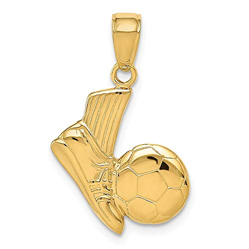 14k Yellow Gold Solid Soccer Shoe Ball Pendant Charm Necklace Sport Fine Jewelry Gifts For Women For Her ()