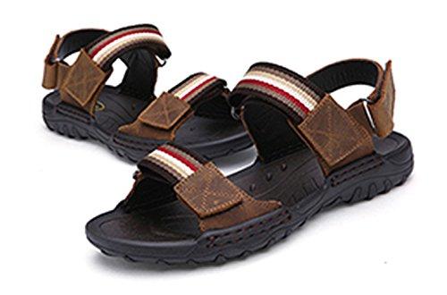 Con Deportivas Transpirables de Velcro Hombre Zapatos Marrón Sandalias Outdoor Claro Cuero SK Studio qzpYFY