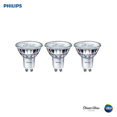 (Philips LED GU10 Dimmable 35-Degree Spot Light Bulb: 400-Lumen, 3000-Kelvin, 6-Watt (50-Watt Equivalent), Bright White, 3-Pack (California Residents)