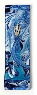 Blue/ Turquoise Marbled Fusion Glass Mezuza Scrolll Cover