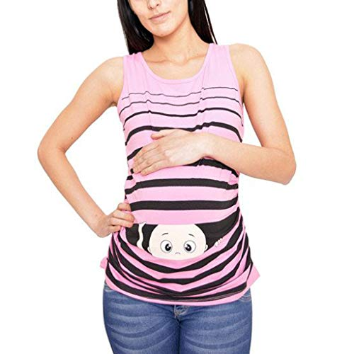 SAYEI Women's Print Cartoon Baby Maternity Round Neck Sleeveless Top Vest Shirt Casual Pink -