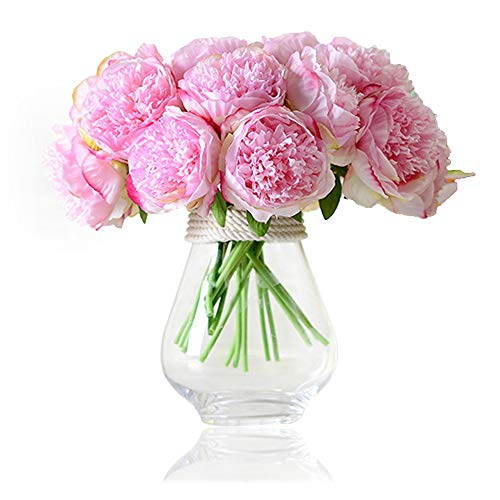Felice Arts Silk Peony Bouquet 5 Heads Artificial Fake Flower Bunch Bouquet Bridal Bouquet Wedding Living Room Table Home Garden Decoration, Hot Pink -