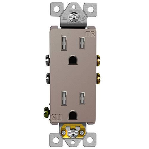 ENERLITES Elite Series Decorator Receptacle Outlet Child Safe Tamper-Resistant, Self-Grounding, 2-Pole, Residential Grade, 15A 125V, UL Listed, 61501-TR-NK, Nickel