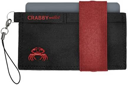 Crabby Wallet – The Ultimate Minimalist Men's Wallet – Holds 10 Cards – Super Slim – Fits Front Pocket – Secure Elastic Construction – 9 Colors