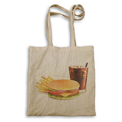 Burger Pommes und Cola Neuheit lustig Tragetasche a943r