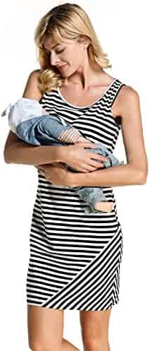 c4e45863e5f Chulianyouhuo Womens Ladies Maternity Pregnant Breastfeeding Nursing Dress  Teal Black Striped Dress