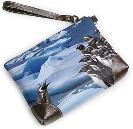 BFDX Penguin Print Surfing Leather Wristlet Clutch Purses Bag Crossbody Clutch Wallet Sacs à Main pour Femmes