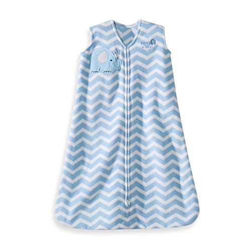 Warm, Cuddly, Blue Zigzag with a Sweet Elephant Applique Wearable Blanket, Infant Small