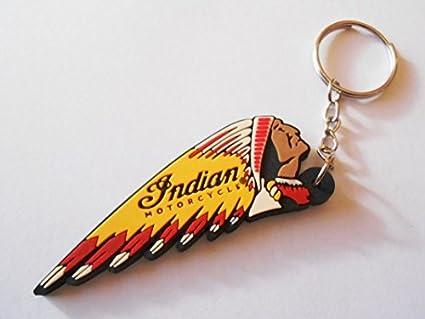 Llavero de caucho para llaves de moto, diseño indio: Amazon ...