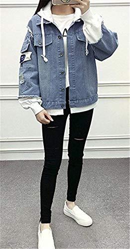Pezzi Donna Women Cucitura Baggy Ragazze Elegante Jacket False Hellblau Tassels Con Mantello Moda Giovane 2 Jeans Strappato Outerwear Primaverile Cappuccio Giacca Ricamo Autunno 4xOYtqw