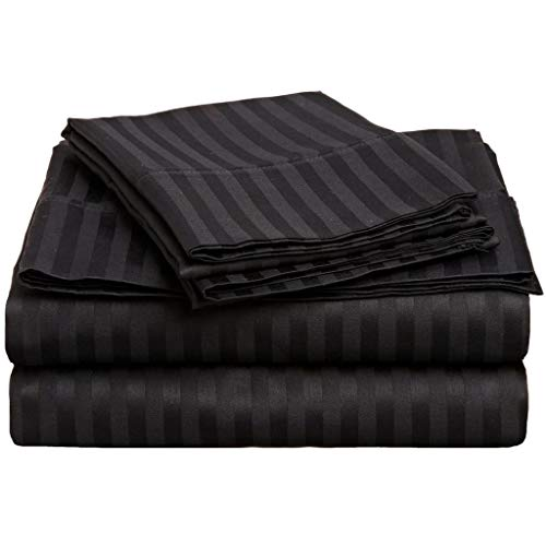 800 Thread Count 100% Cotton Sheets Set Twin Black Stripe, 100% Long Staple Cotton Black Stripe Twin Sheets, Luxurious Sateen Weave Cotton Bed Sheets Deep Pocket fit Up to 15