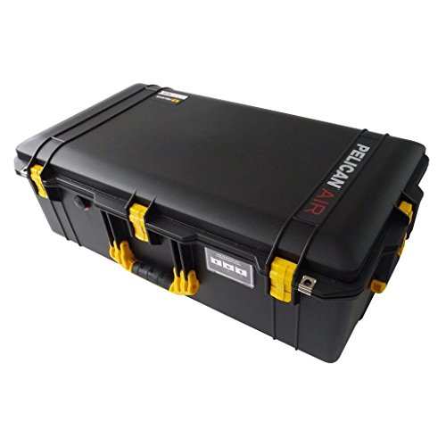 Black w/ Yellow handles & latches Pelican 1615 case. No Foam. With Wheels.