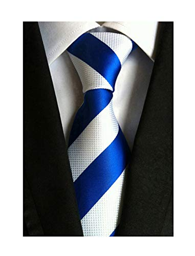 Secdtie Men's Blue White Striped Jacquard Woven Silk Tie Formal Necktie ()