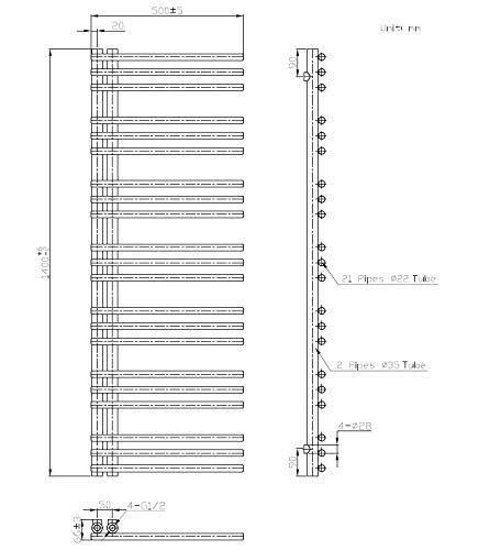 Badheizk/örper Flatten in 160 x 50 cm Mittelanschluss, grau