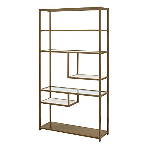Dorel Living Moriah Geometric Bookcase Etagere, Soft (Gold Shelf)