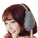 Women Winter Warm Adjustable Knitted Faux Fur Plush Earmuffs Warmers