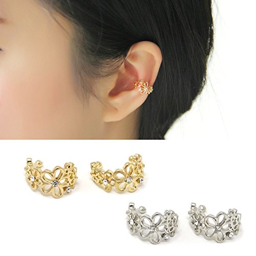 Ear Cuff Flower (Honbay 4PCS Flower Hollow Ear Cuff Wrap Clip Non-Piercing Alloy Fashionable Fake Earrings for Women and Girls,Golden and Silver)