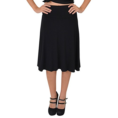 Stretch is Comfort Women's Knee Length Flowy Skirt Black - Usa Teamwear