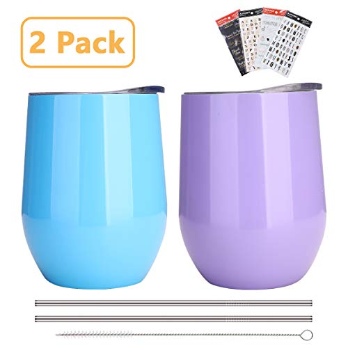 DARUNAXY 12 oz Insulated Stemless Glass, Stemless Wine Glass, 2 Pack Blue and Purple Stainless Steel Wine Tumbler(Come with 2 Stainless Steel Staws, 1 Straw Brush and 4 Letter Stickers)