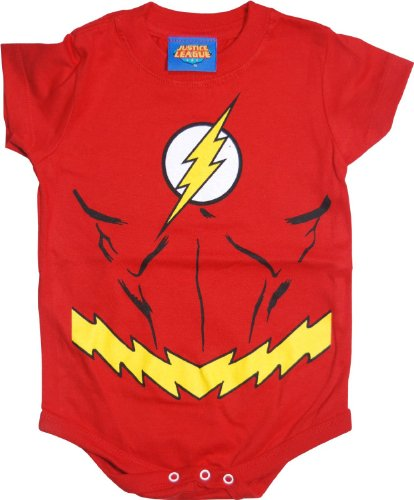 The Flash Uniform Costume Red Snapsuit Infant Onesie Baby Romper (12 Months)
