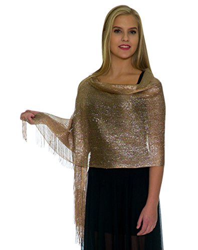 Shawls and Wraps for Evening Dresses, Wedding Shawl Wrap Fringes Scarf for Women Metallic Beige Gold Petal Rose