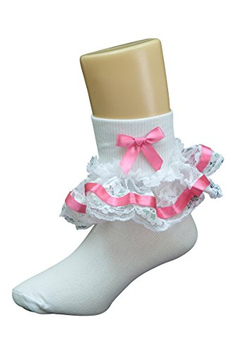 Girls Fancy Socks with Lace Trim - Hot (Hot Pink Trim)