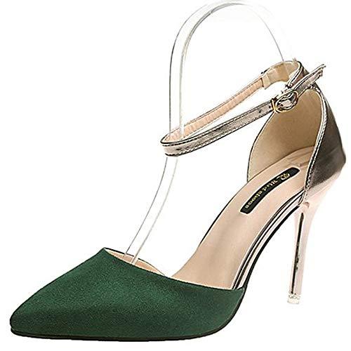 Correa Tacones Black de Verde Rosa Caqui de Zapatos Mujer Estrecha Tacón Tobillo Poliuretano PU Punta Verano Aguja ZHZNVX 80qB4n
