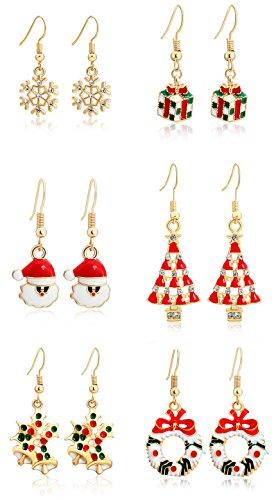 [MODEBOX Women's Christmas Dangle Earrings Girls Fashion Cute Stainless Steel Ear Ring Set (6 Pairs) Color Chirstmas] (Girls Jade Princess Costumes)